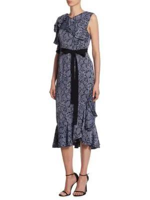 Erdem Kaylee Floral Midi Dress In Slate Blue Black