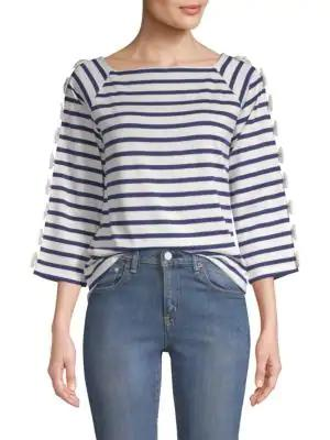 Tu Es Mon Tresor Cotton Stripe Shirt In Blue