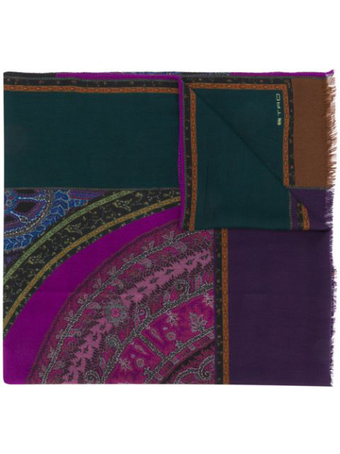 Etro Printed Wide Scarf In Purple