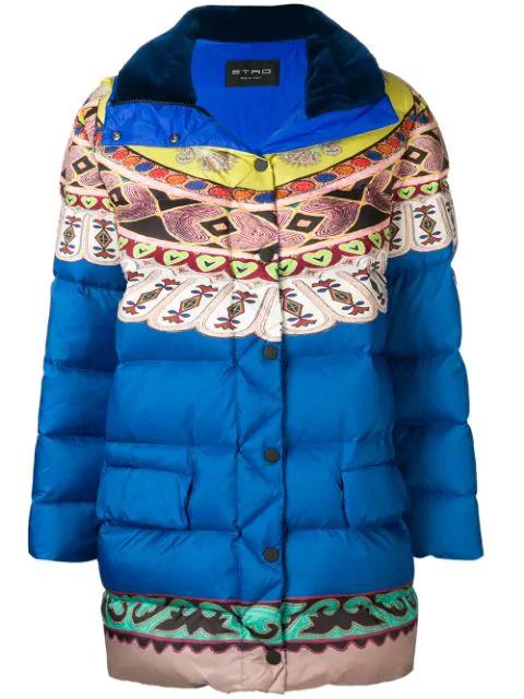 Etro Loose Padded Jacket In Blue