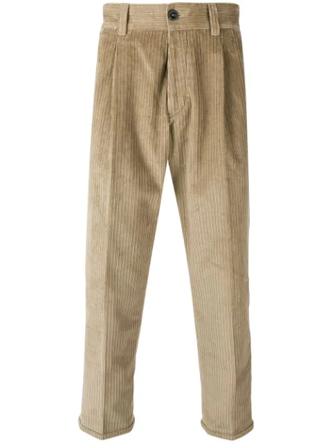 Pt01 Corduroy Cropped Trousers - Neutrals