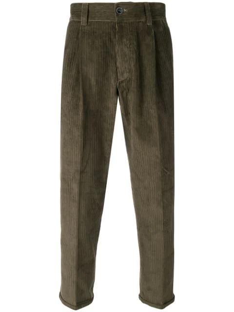 Pt01 Corduroy Cropped Trousers - Green