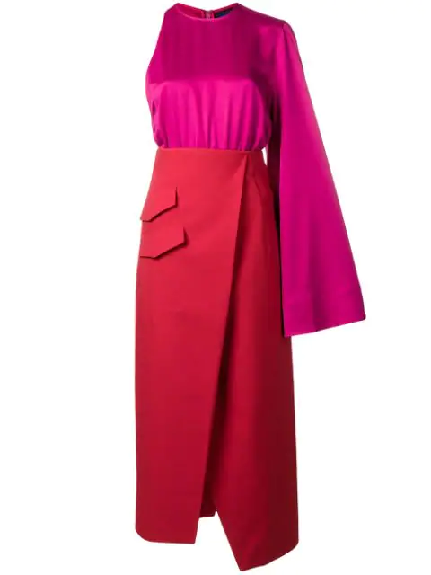 Solace London One Shoulder Midi Dress In Red