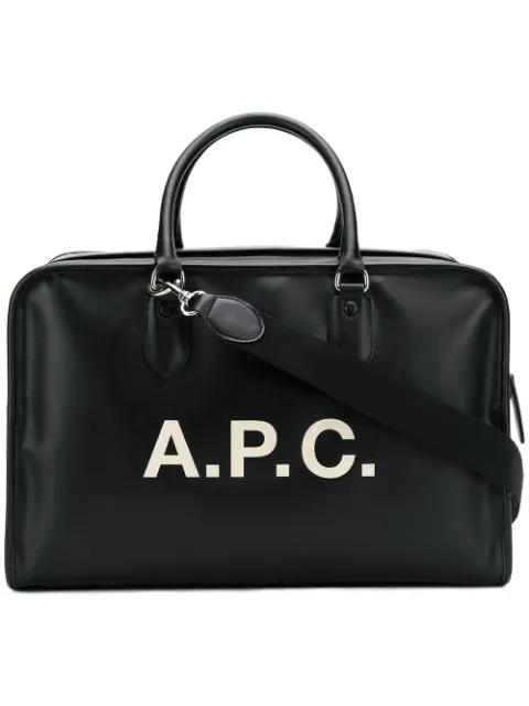 A.p.c. Logo Print Tote Bag In Black