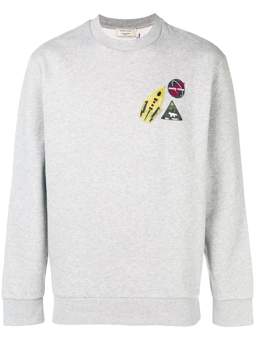 Maison KitsunÉ Logo Patches Sweatshirt In Grey