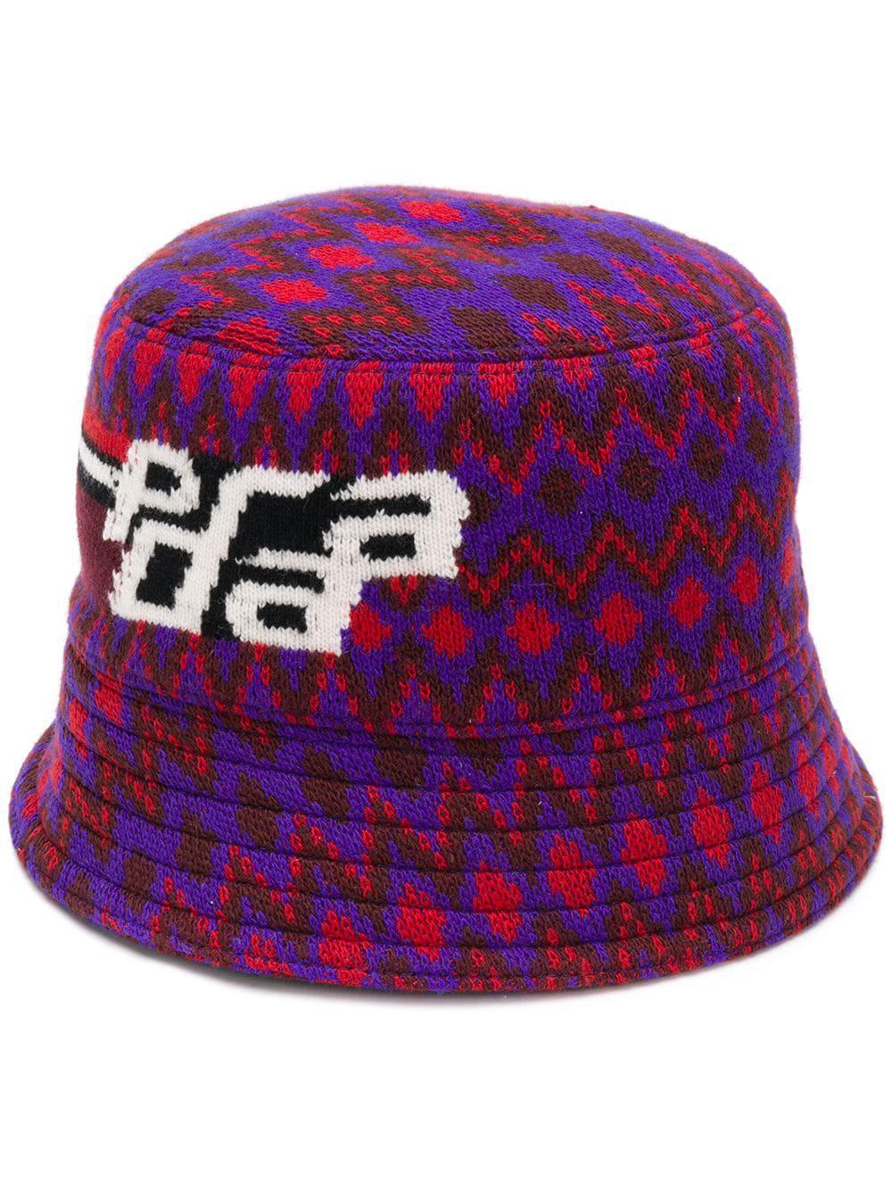 Prada Zigzag Logo Bucket Hat - Purple