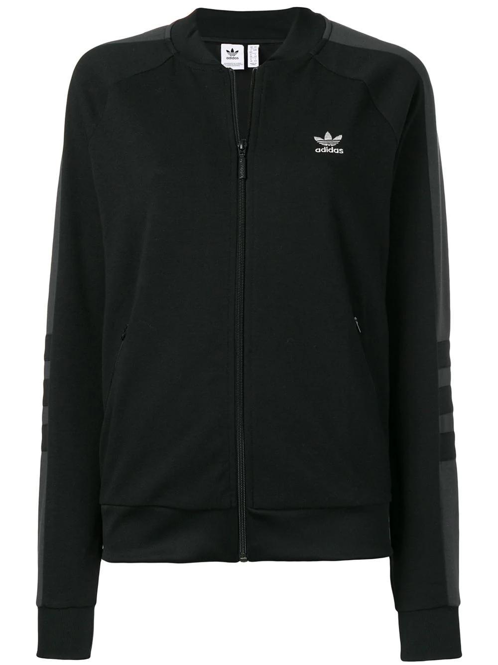 Adidas Originals Stripe Detail Track Jacket In Black