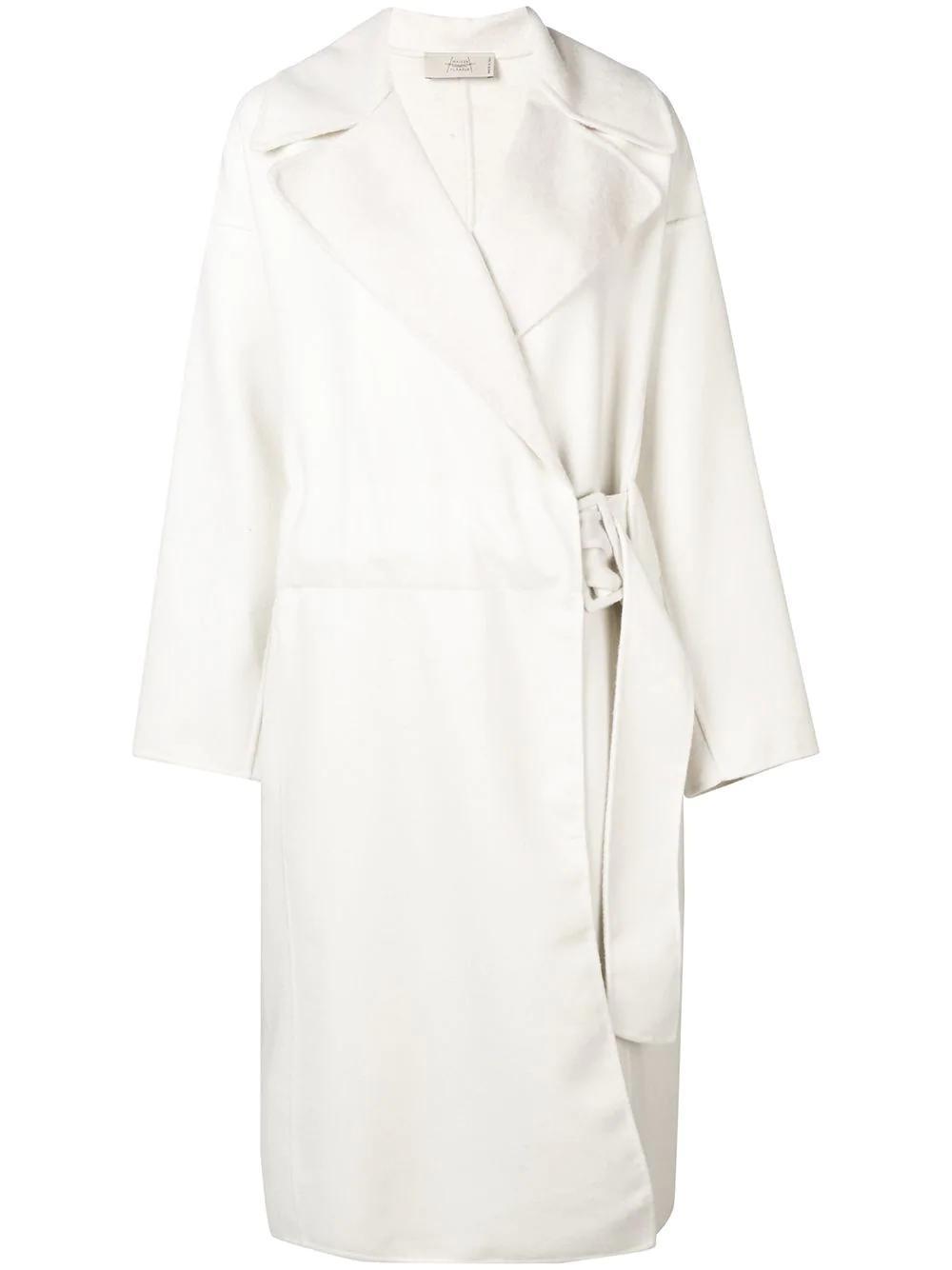 Maison Flaneur Oversized Belted Coat - White