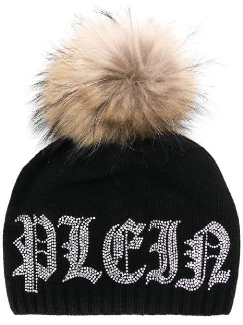 Philipp Plein Raccoon Fur Pompom Beanie In Black