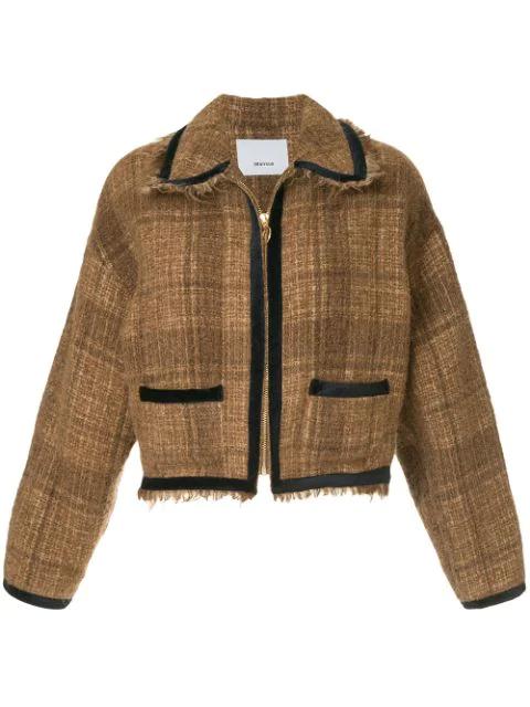 08sircus Frayed Cropped Tweed Jacket In Brown
