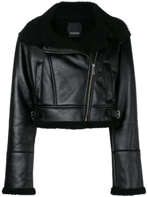 Pinko Cropped Biker Jacket In Black