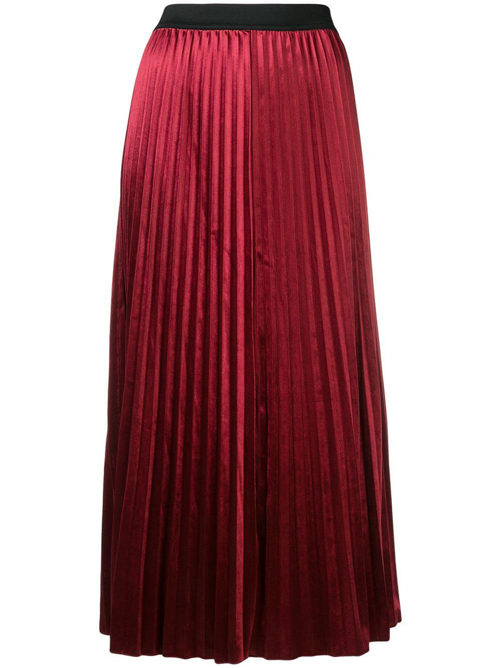 Dkny Pleated Maxi Skirt - Red