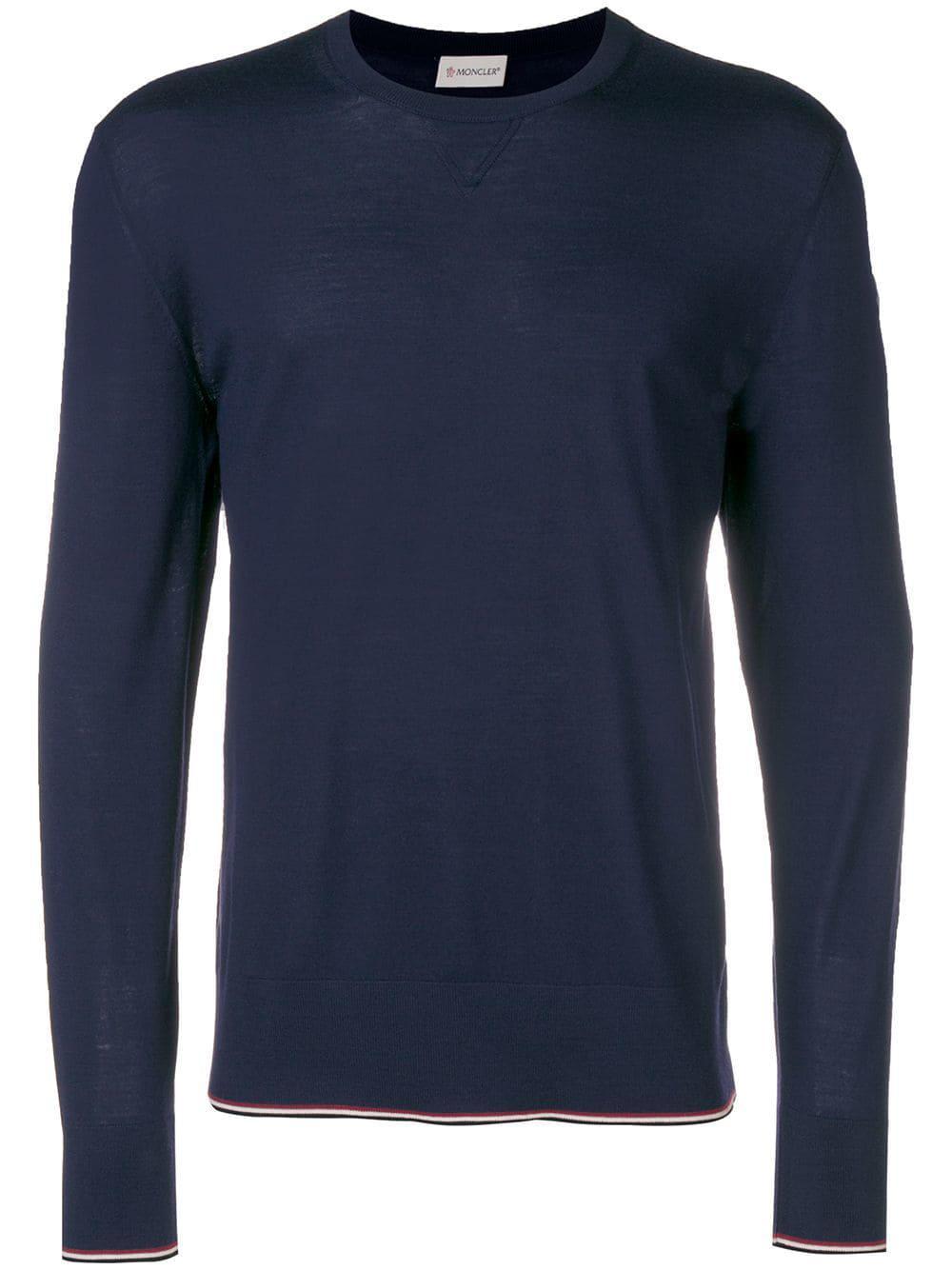 Moncler Logo Patch Fine Sweater - Blue