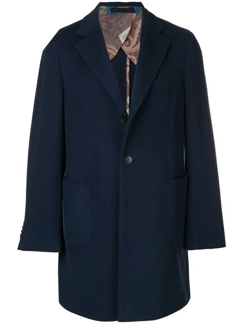 Etro Single-breasted Coat In Blue