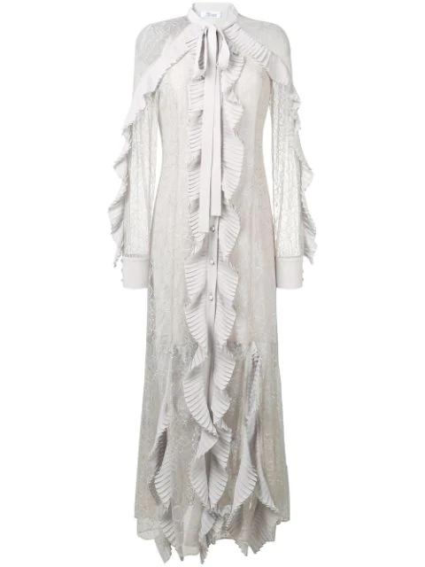 Blumarine Ruffle Lace Dress - White