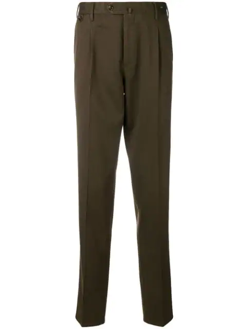 Pt01 Creased Chino Trousers - Green