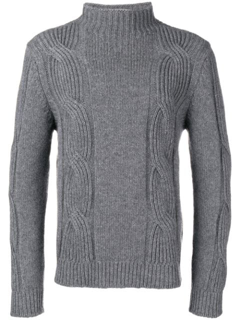 Fay Cable-knit Jumper In Grey