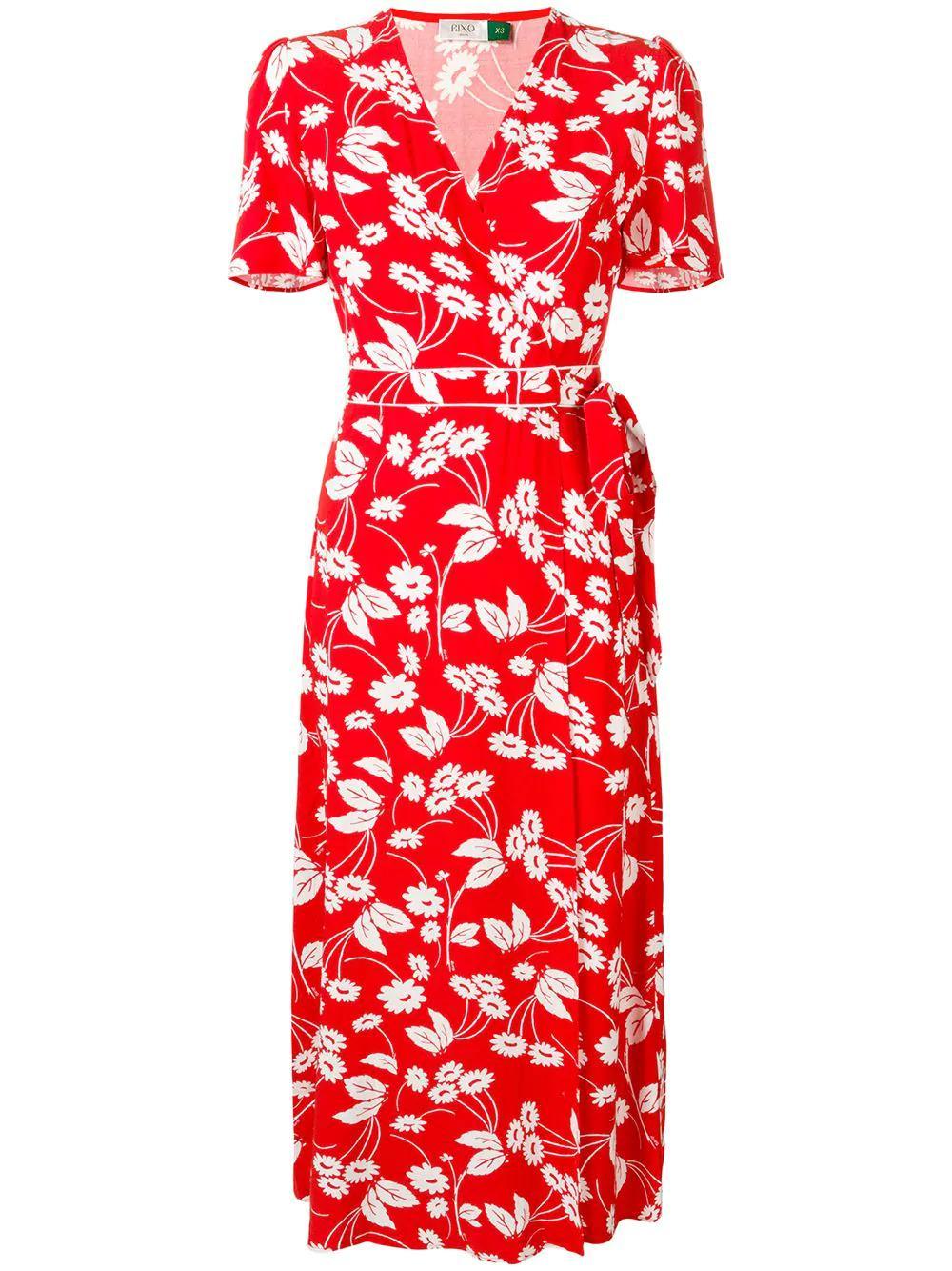 Rixo London Shauna Dress In Red