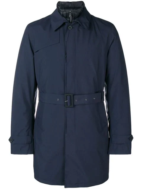 Herno Belted Fitted Trench Coat In 9201 Navy