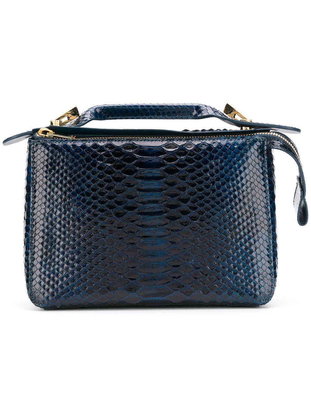 Sophie Hulme Textured Shoulder Bag In Blue