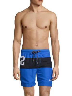 Superdry Colorblock Swim Trunks In Blue Black