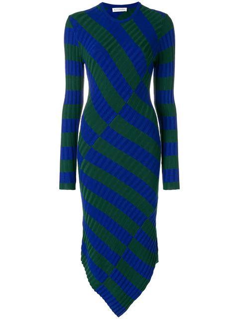 Altuzarra Asymmetric Stripe Dress - Blue
