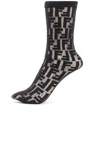 Fendi Logo Print Nylon Socks In Black