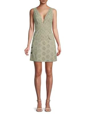 Valentino Eyelet Lace A-line Dress In Tiger Lily