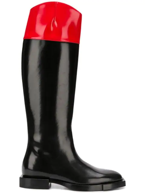 Alexander Mcqueen Hybrid Patent-leather Knee-high Boots In Black