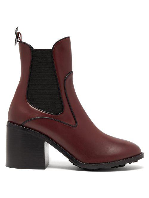 Fabrizio Viti Madison Leather Ankle Boots In Burgundy