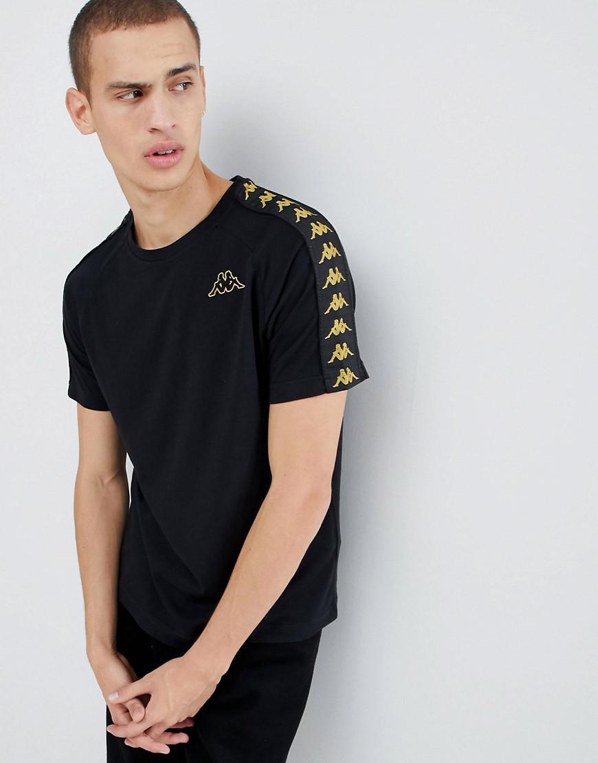 Kappa T-shirt With Logo Taping In Black & Gold - Black