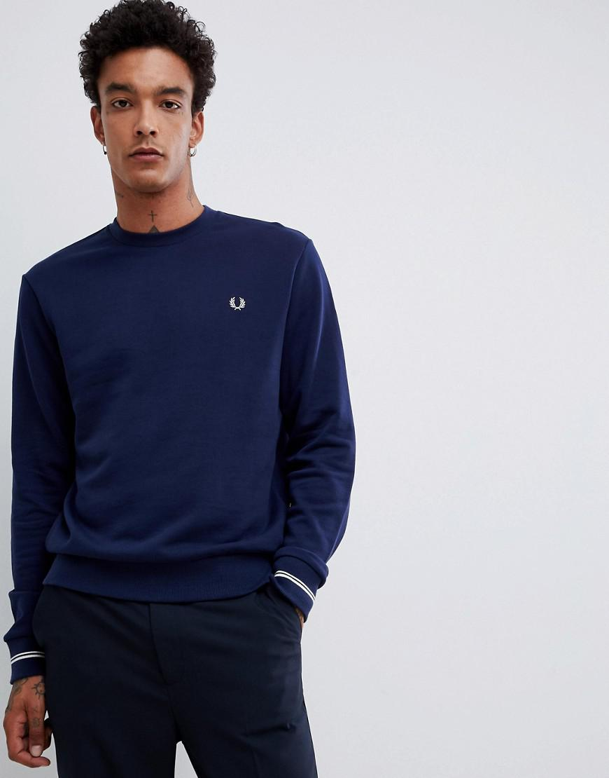 Fred Perry Crew Neck Sweat In Navy - Navy