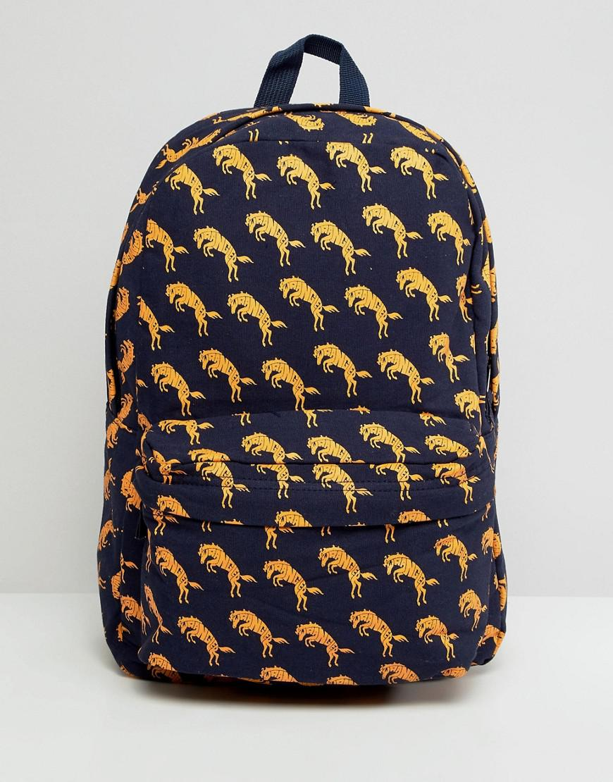 Wrangler Blue & Yellow Horse Print Backpack - Red