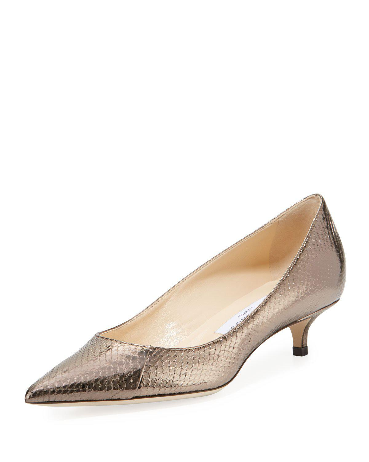 Jimmy Choo Amelia Snakeskin Kitten Pumps In Pewter