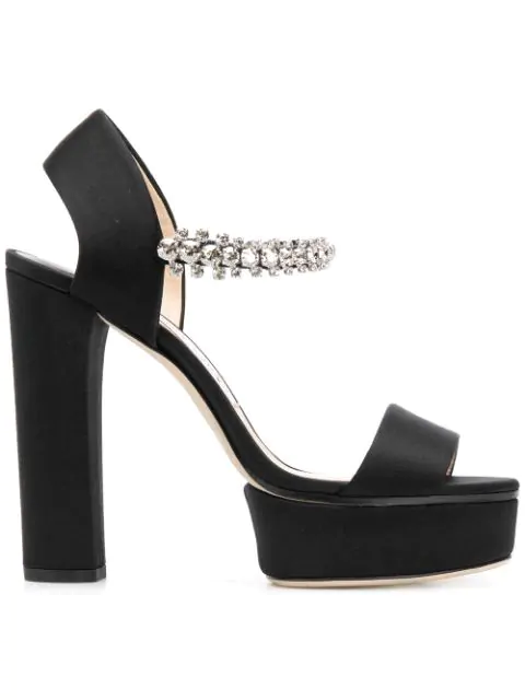 Jimmy Choo Women's Santina 125 Embellished High Block-Heel Platform Sandals In Black