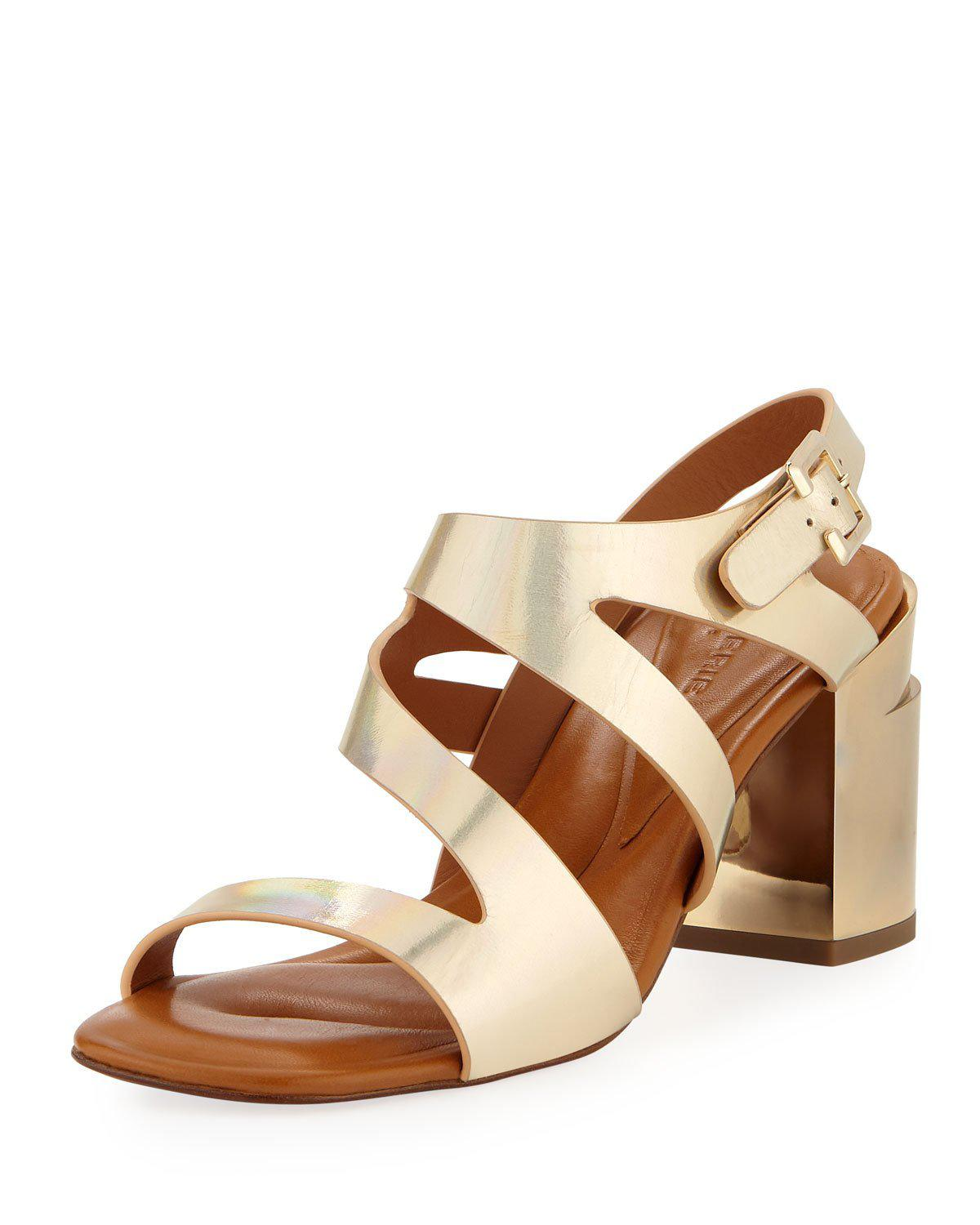 Robert Clergerie Above Metallic Strappy Sandals In Gold
