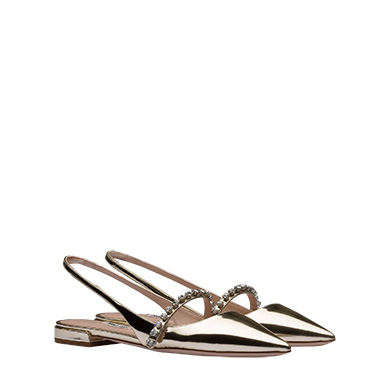 Miu Miu Metallic Leather Slingback Ballerinas In Pyrite
