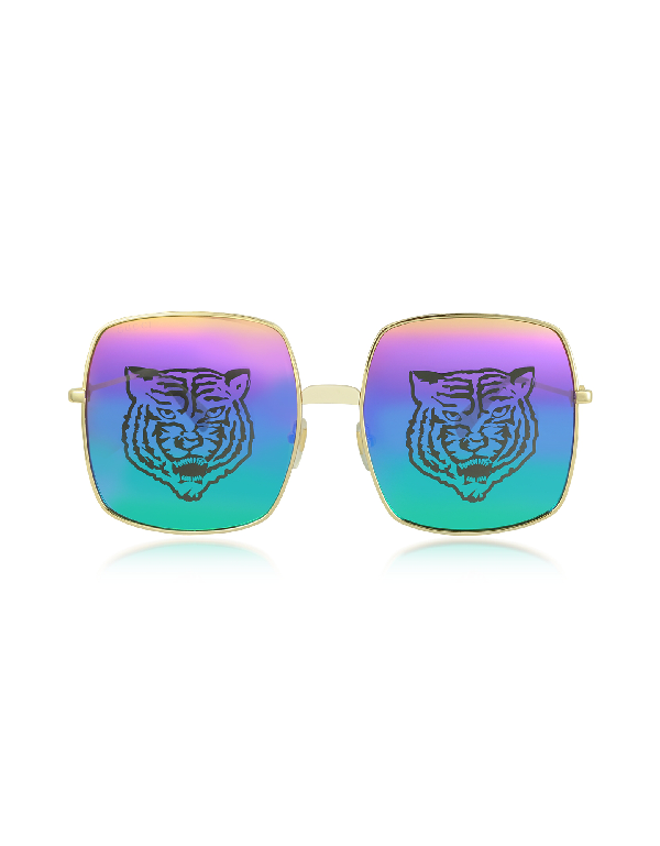 Gucci Angry Cat Rainbow Square Sunglasses In Tiger