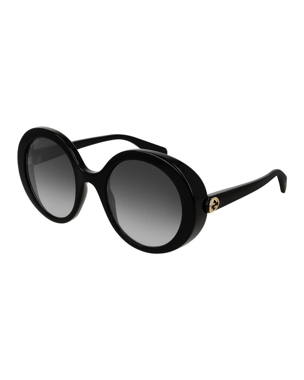 79e1134dab7 Gucci 53Mm Round Sunglasses - Black  Grey Gradient