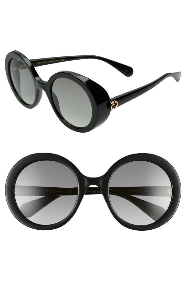 Gucci 53Mm Round Sunglasses - Black/ Grey Gradient