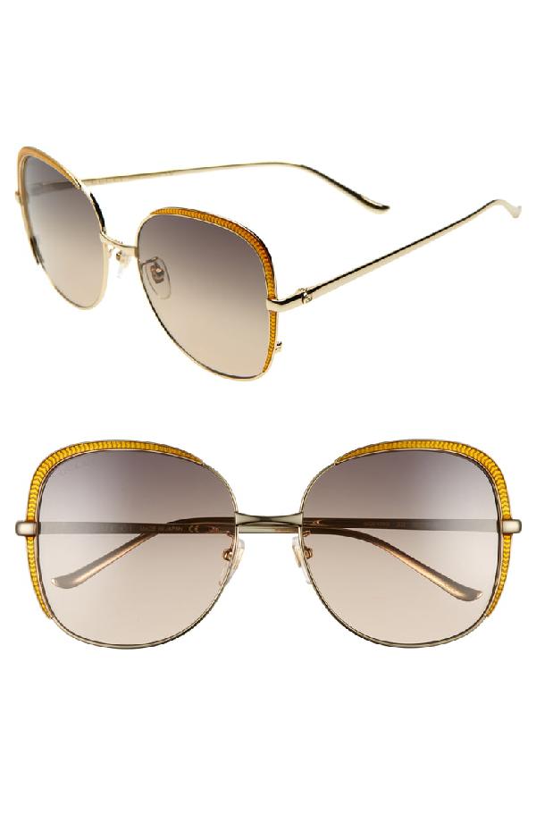 Gucci 58mm Gradient Sunglasses - Gold/ Pink/ Grey Gradient