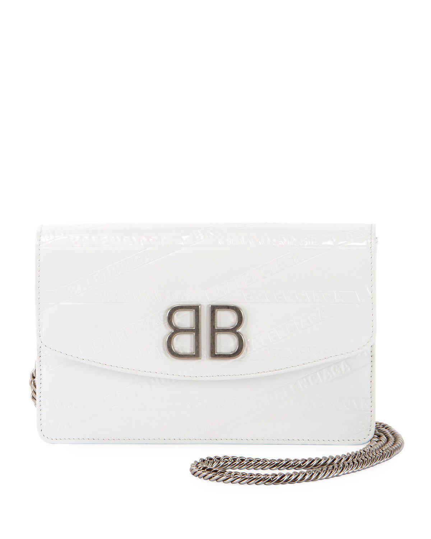 b8b938e17d19f Balenciaga Bb Logo-Embossed Patent Wallet On Chain - Silvertone Hardware In  White