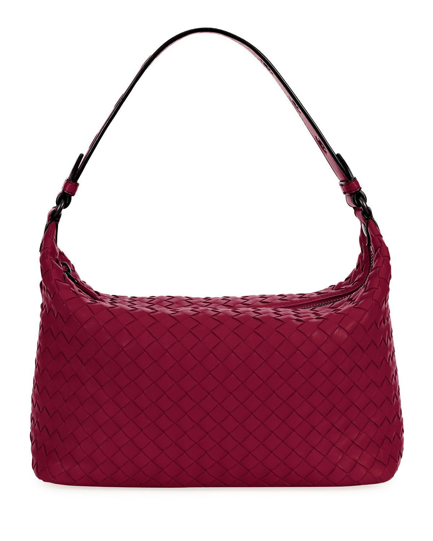 Bottega Veneta Small Intrecciato Hobo Bag In Red