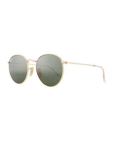 Ray Ban Men's Round Metal Sunglasses In Green Metallic