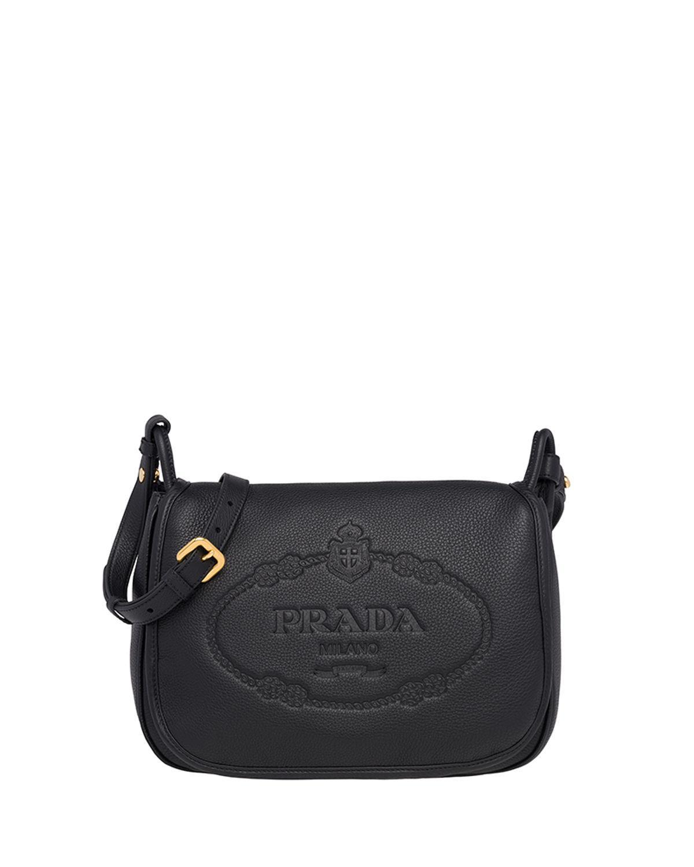 Prada Daino Shoulder Bag In Black