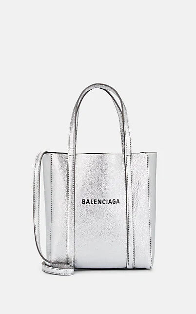 Balenciaga Extra Extra Small Everyday Logo Goatskin Tote - Metallic In Silver