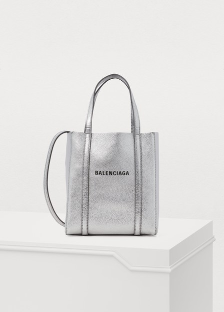Balenciaga Extra Extra Small Everyday Logo Goatskin Tote - Metallic In Silver