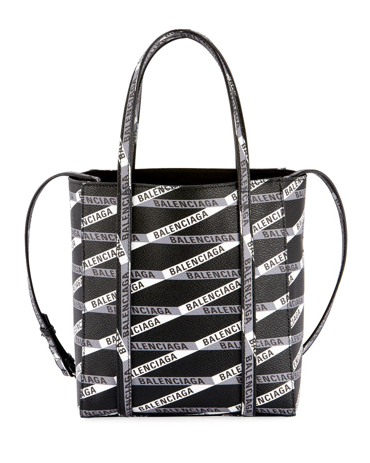 Balenciaga Every Day Xxs Aj Logo Stripe Leather Tote Bag In Black/gray
