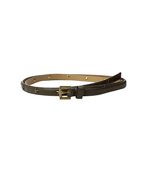 Michael Michael Kors 13mm Skinny Pebble Star Belt, Olive