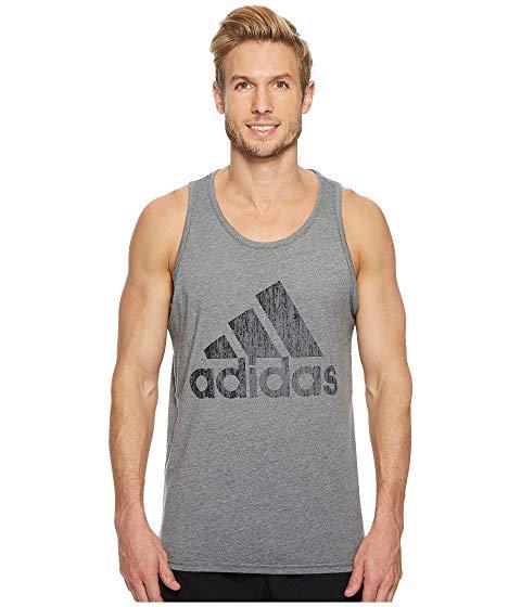 Adidas Originals Badge Of Sport Heather Tank Top, Dark Grey Heather/black